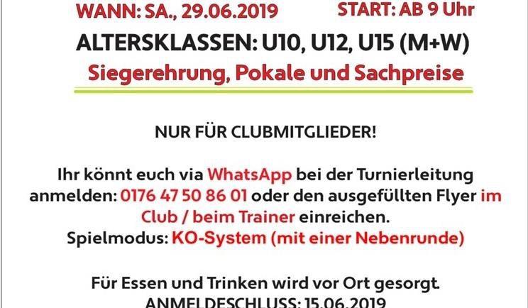 NEU: Jugendturnier Sommer 2019 im TC Hilden Ost!!!